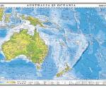 Australia şi Oceania. Harta fizica. 1400x1000 mm