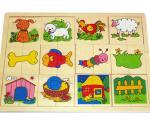 """Puzzle de lemn """"Animale și obiecte din ograda mea"""""""
